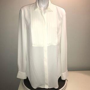 J. Crew Women's Tuxedo Pin Tuck Dress Shirt Blouse